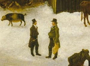 "Jacob Hicks, on right, chatting with Thos. W. Birdsall in a detail from Francis Guy's ""Winter Scence in Brooklyn."""