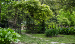 For the Home Guru's garden, Fitzgerald fashioned this fencing and gate from salvaged antique iron pieces.