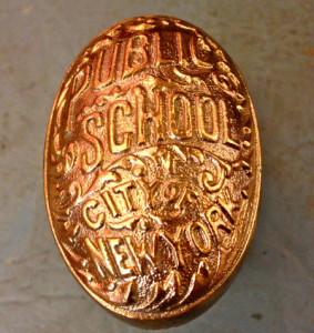 This solid brass doorknob, circa 1899, is a collector's item taken from a demolished New York City School. One sold in The Home Guru's antiques shop many years ago for $8.00, it is now offered online for $50 to $250.00.
