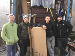 "The Home Guru's ""miracle"" moving team from Advantage Moving, led by Dmitry Gogin, far right."