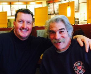Frank Quigley, left, owner of Windows Plus, a construction company, and  Joe Pascarelli, a house painter, are both retired fireman involved with fire safety education for kids and now plan to write a children's book about it.