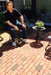 The Home Guru enjoys his brick patio, laid in a bond pattern which requires little cutting, the easiest do-it-yourself installation over leveled gravel and sand.