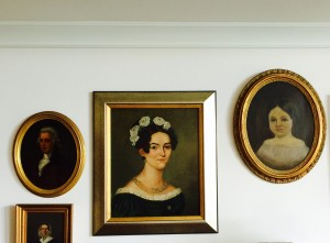 "Detail from the living room of The Home Guru, showing ""cove"" crown molding in white on white."