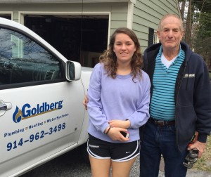 The Home Guru's longest term home maintenance service provider of over 40 years, plumber Dave Goldberg, here with granddaughter Sarah Marr, who recently arrived at my home within 10 minutes of an emergency call, and he's allegedly retired!